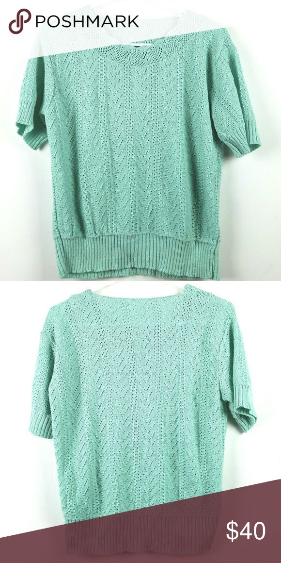 "Vintage Mint Green Short Sleeve Sweater XL Open Weave, beautiful pattern No tags Mint green 80's  Approximate measurements flat  Bust 23"" Length 22.5"" Vintage Sweaters"