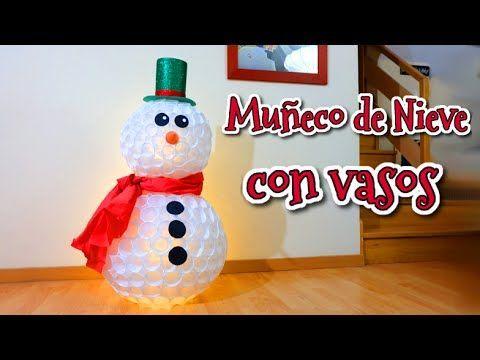 Muñeco de nieve con vasos de plástico | Manualidades fáciles para Navidad low cost | Manualidades