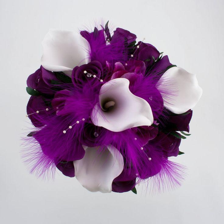 Cadbury Purple Silk Wedding Flowers : Best feather flowers images on peacock