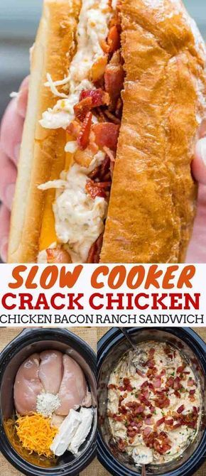"Slow Cooker Chicken Bacon Ranch Sandwiches, also sometimes referred to as ""crack…"