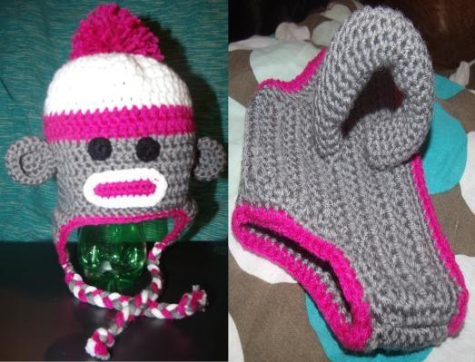 Free Crochet Pattern Monkey Diaper Cover : Made to Order Handmade Crocheted Sock Monkey Inspired Hat ...