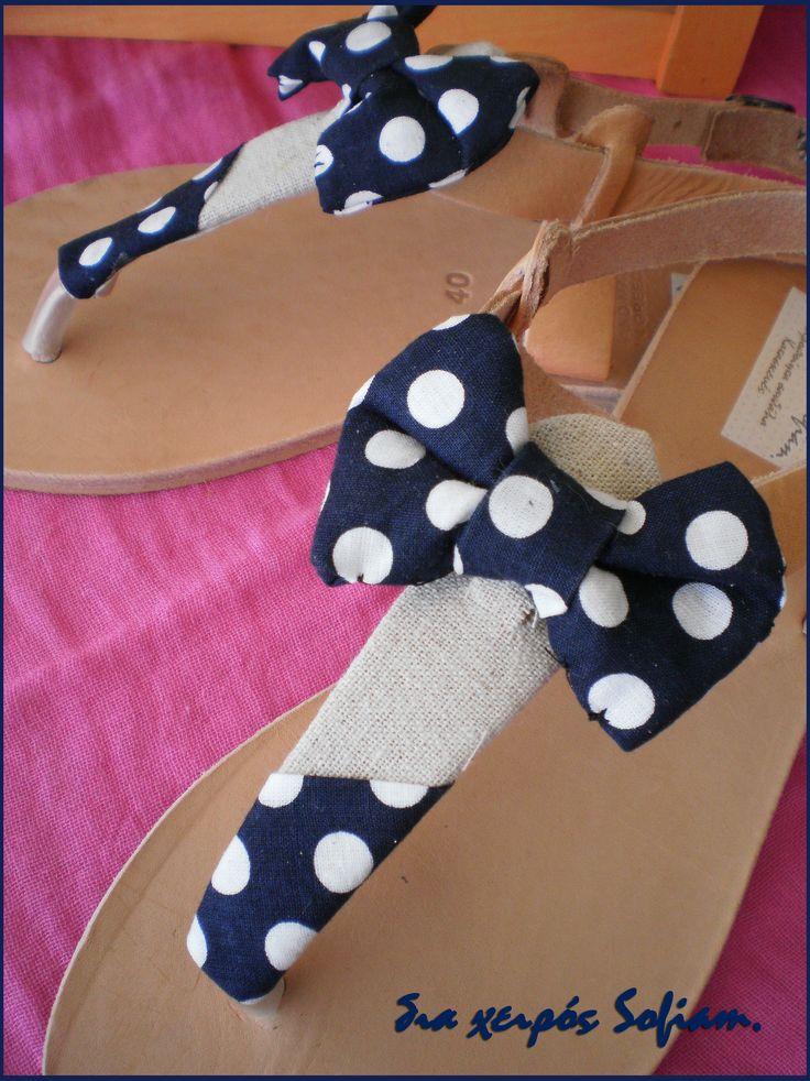 SaS025 blue polca dots sandals