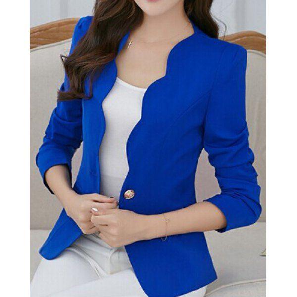 $17.72 Simple Design V-Neck Long Sleeve Solid Color Blazer For Women