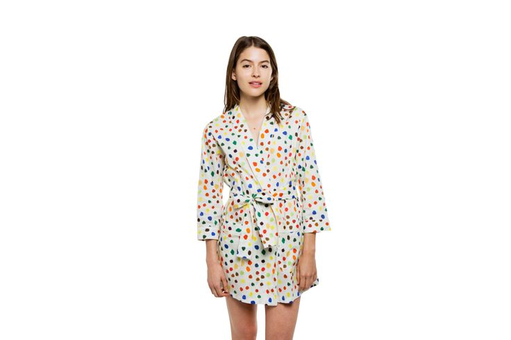 Shop Louise Shrunken Robe John Derian Painted Dots, luxury ...