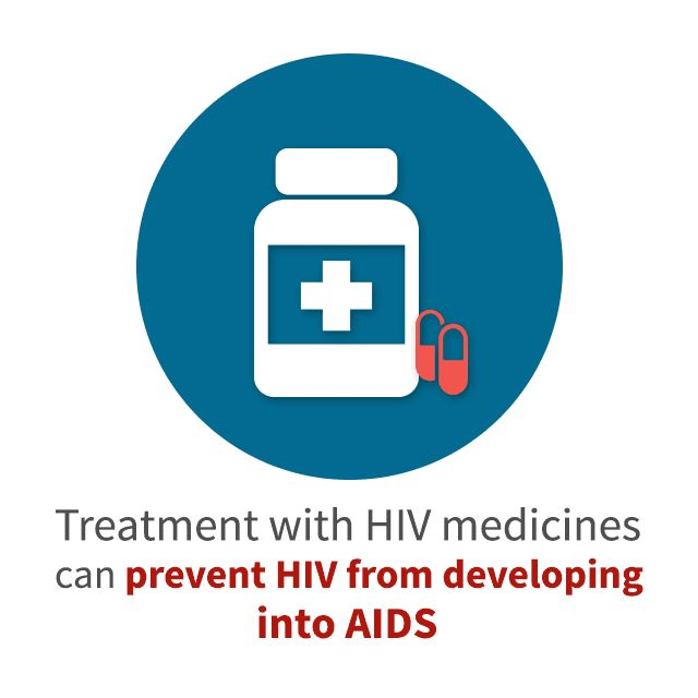 Treatment with HIV medicines can prevent HIV from developing into AIDS