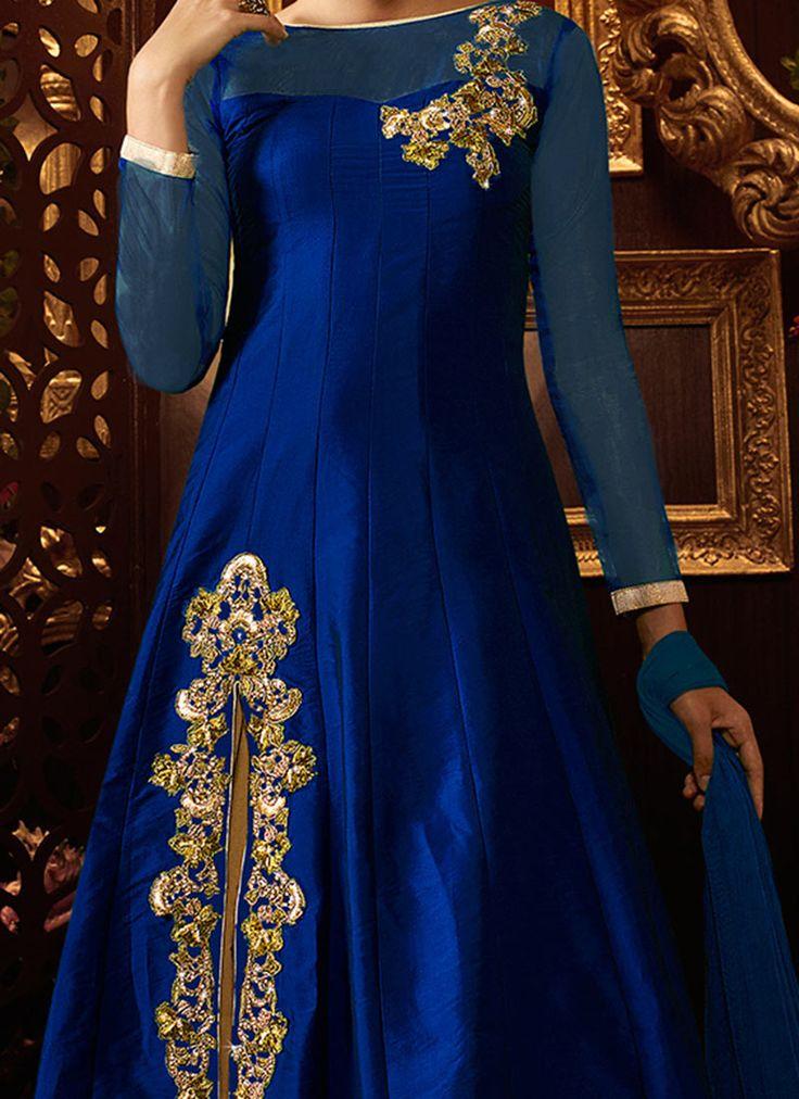 Royal Blue Taffeta Silk Long Choli Lehenga