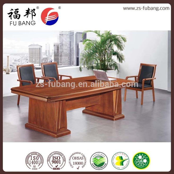 Special Shaped Antique Wood Walnut Color 8 Seat Meeting Table For Conference