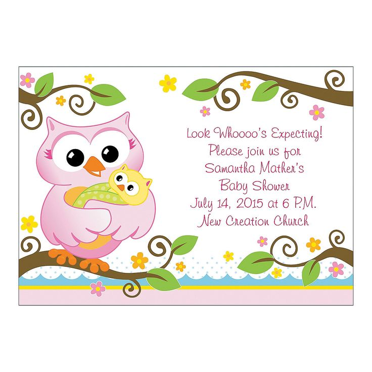 Personalized Owl Baby Shower Invitations - OrientalTrading.com