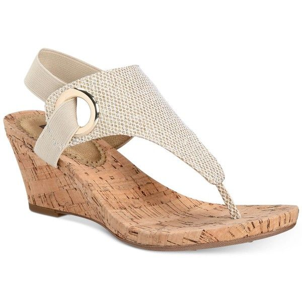 White Mountain Aida Cork Wrapped Wedge Sandals ($50) ❤ liked on Polyvore featuring shoes, sandals, gold, white mountain shoes, wedge heel sandals, slingback sandals, gold wedge shoes and gold sandals