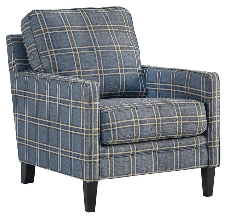 Best Benchcraft Traemore Casual Checker Print Accent Chair 640 x 480