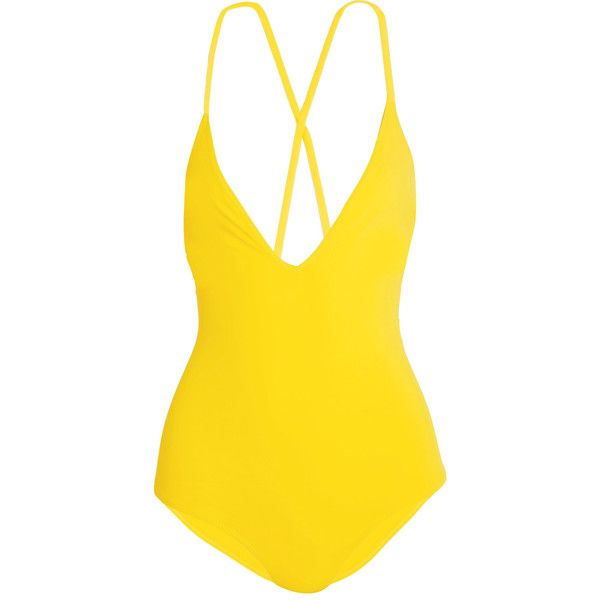 Emma Pake Antonia lace-up swimsuit ($320) ❤ liked on Polyvore featuring swimwear, one-piece swimsuits, bright yellow, tie-dye bathing suits, criss-cross swimwear, swim suits, swimsuit swimwear and criss cross bathing suit