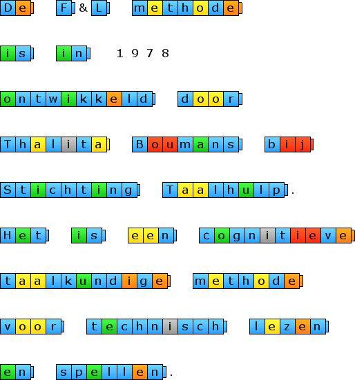 De F&L methode is in 1978 ontwikkeld door Thalita Boumans bij Stichting Taalhulp. Het is een cognitieve taalkundige methode voor technisch lezen en spellen.
