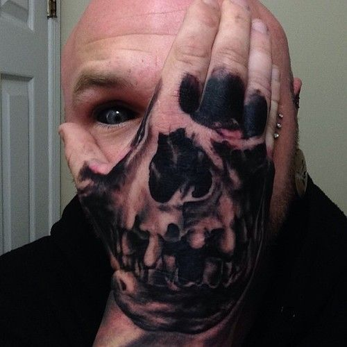 Skull Hand Tattoo On Josh Morrow, Done By Artist Chris