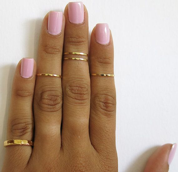 set of 5 gold knuckle rings pinky ring mid knuckle ring by TopStar