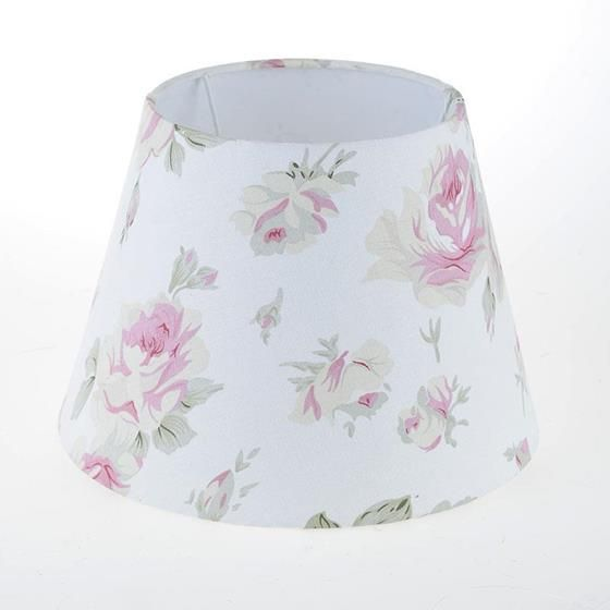 FABRIC SHADE WITH PINK FLOWERS   www.inart.com