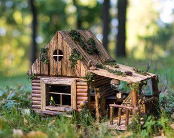 Rustic Porch-House. Miniature house, wooden nightlight, dollhouse, kids lamp, unique artwork, rustic homedecor