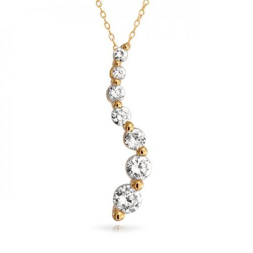 Bling Jewelry 14K Gold Vermeil Love Journey CZ Silver Pendant Necklace 16in