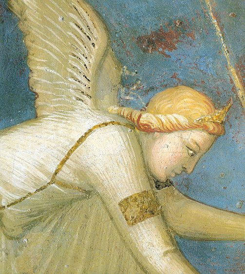 """Ambrogio Lorenzetti - La """"Giustizia commutativa"""": L'angelo  ... (Allegoria del Buon Governo) - affresco - 1338-1339 - Siena - Palazzo Pubblico, Sala dei Nove o Sala della Pace"""