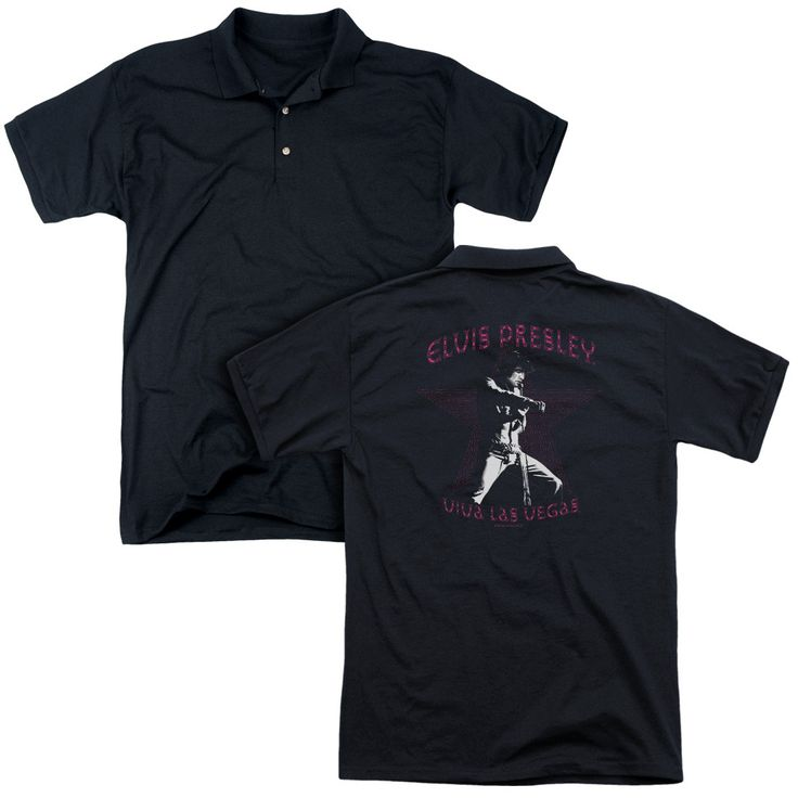 ELVIS/VIVA LAS VEGAS STAR (BACK PRINT) - MENS REGULAR FIT POLO - BLACK -