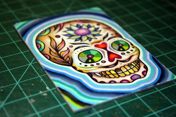 Sugar Skull original ACEO ATC small art card by by bryancollins, $45.00