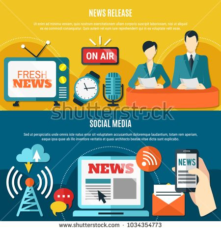 Stock Vector: Social media and news release horizontal banners with web technology transfer fresh information flat vector illustration