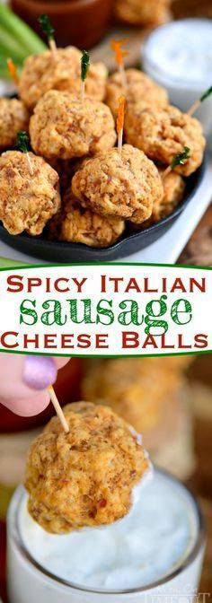 These Spicy Italian These Spicy Italian Sausage Cheese Balls are...  These Spicy Italian These Spicy Italian Sausage Cheese Balls are guaranteed to be a hit at your next party! So easy to make and perfect for game day! We like to dip them in ranch bbq sauce or marinara - so good! // Mom On Timeout Recipe : http://ift.tt/1hGiZgA And @ItsNutella  http://ift.tt/2v8iUYW