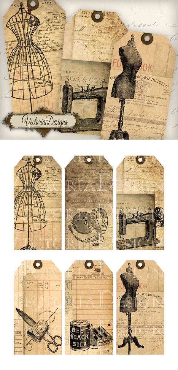 "Six different shabby chic vintage sewing tags. You get: ° 6 high quality (300 dpi) tag images (4.53"" x 2.28"") on one 8.5"" x 11"" JPG sheet for easy printing ° each label separately as PNG ° in a zip..."