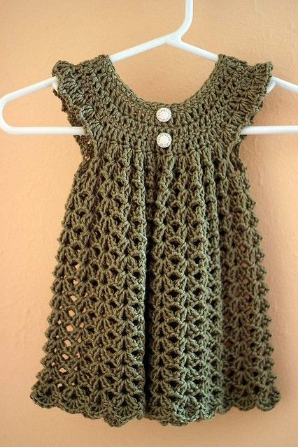 Crochet baby dress - Free Pattern...Would also make a great smock for women, also!