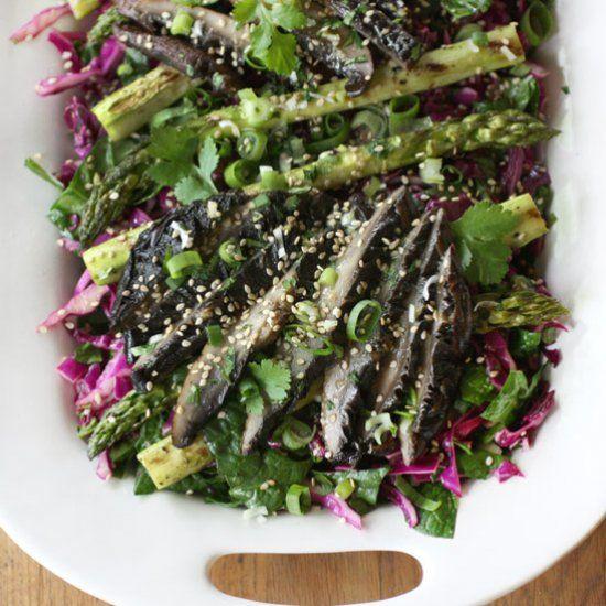 Grilled Sesame-Ginger Asparagus and Portobello Salad.   Meatless ...