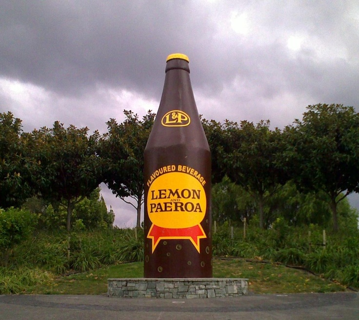 L&P bottle, Paeroa, NZ. tasty stuff, eh?