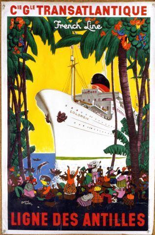 Collin - Cie Gle Transatlantique Ligne des Antilles - 1948 vintage poster
