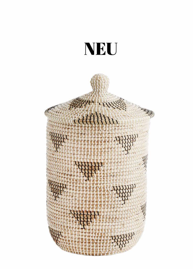rattankorb mit deckel, natur-schwarz-weiß WWW.INTHEATTIC.AT