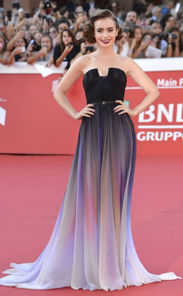 Lily Collins from The Best of the Red Carpet Excuse us while we collect out jaws from the floor, because Lily's Elie Saab Couture lavender ombré gown is just that stunning!