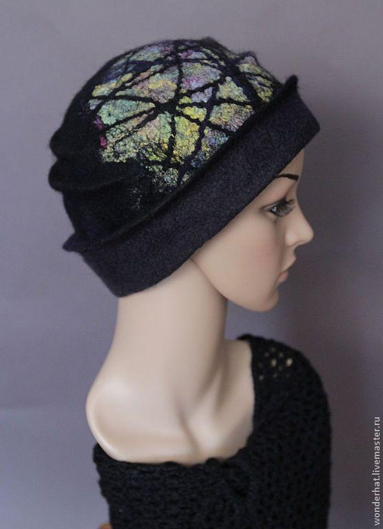 """Купить Шляпка """"Паутина Шарлотты"""" - темно-серый, черный, зеленый, голубой, валяная шляпка"""
