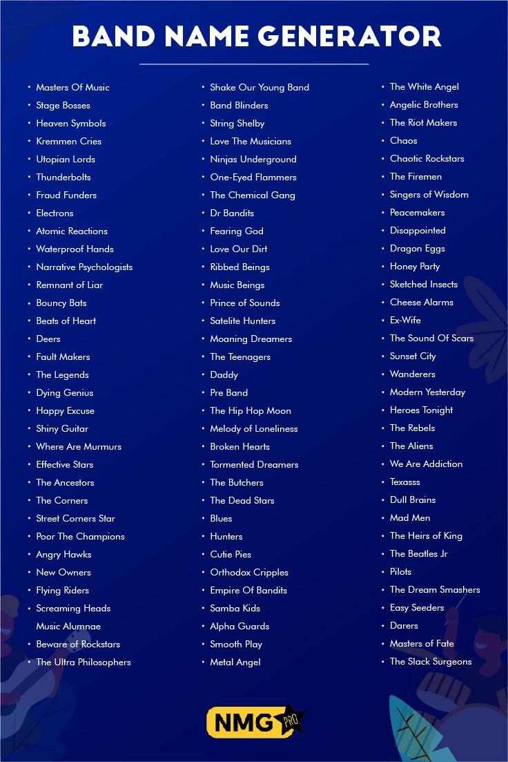 Musician Band Name Ideas Band Name Generator Band Name Generator Band Names Ideas Name Generator