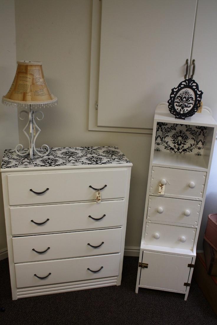 Decopauge paper on dresser and shelving.