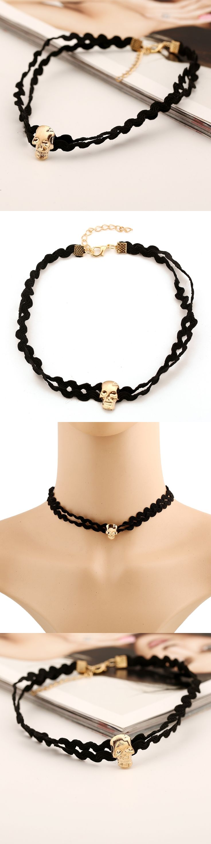Necklace Lace Skull Head and Neck Chain Clavicle Short Chain Necklace LY X505