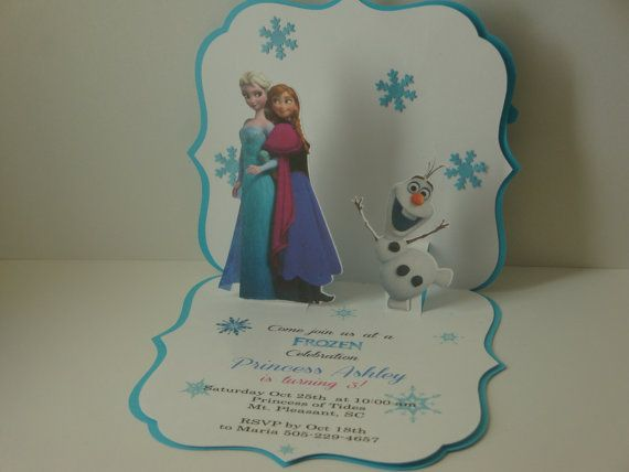 10 best pop up birthday invitation cards images on pinterest frozen pop up birthday invitation set of 8 birthday party elsa anna card frozen party frozen invitation stopboris Image collections