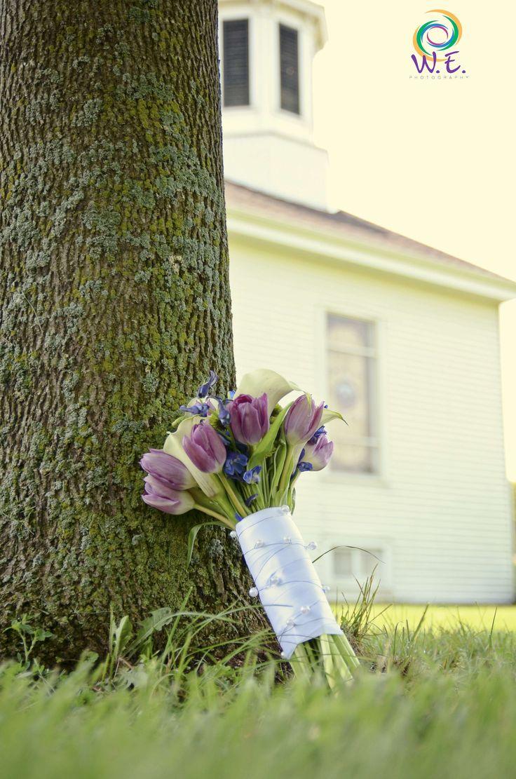Tulips in your wedding bouquet.  A small country church.  Quaint weddings. #weddingtrends  #wisconsin wedding #Paoli, Wisconsin
