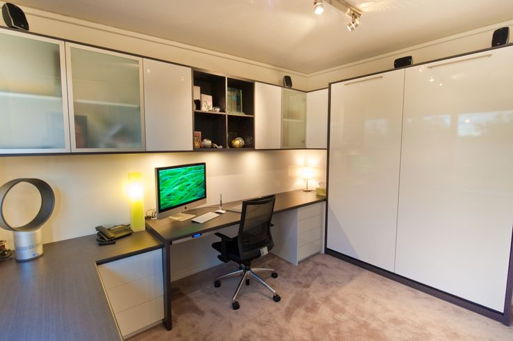 We can design a fold-up wall bed into your home office.