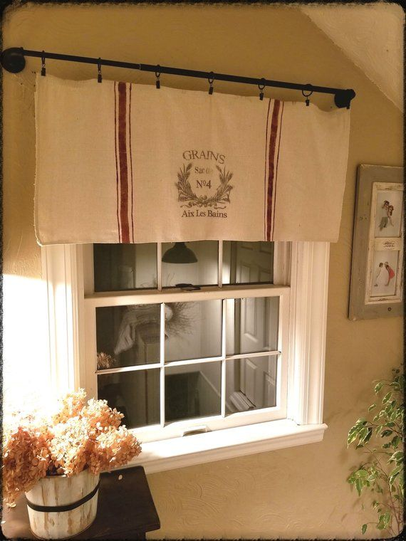 Grain Sack Inspired Window Valances Etsy Window Valance Farmhouse Valances Valance