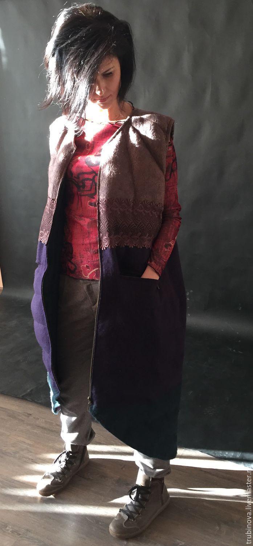 """Купить Стёганый жилет """"Душегрейка"""" - тёмно-фиолетовый, жилет, теплый жилет, зимний жилет"""