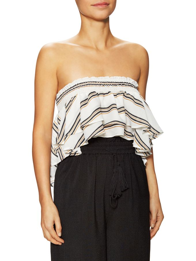 Striped Bandeau High Low Top from Lucca Couture on Gilt