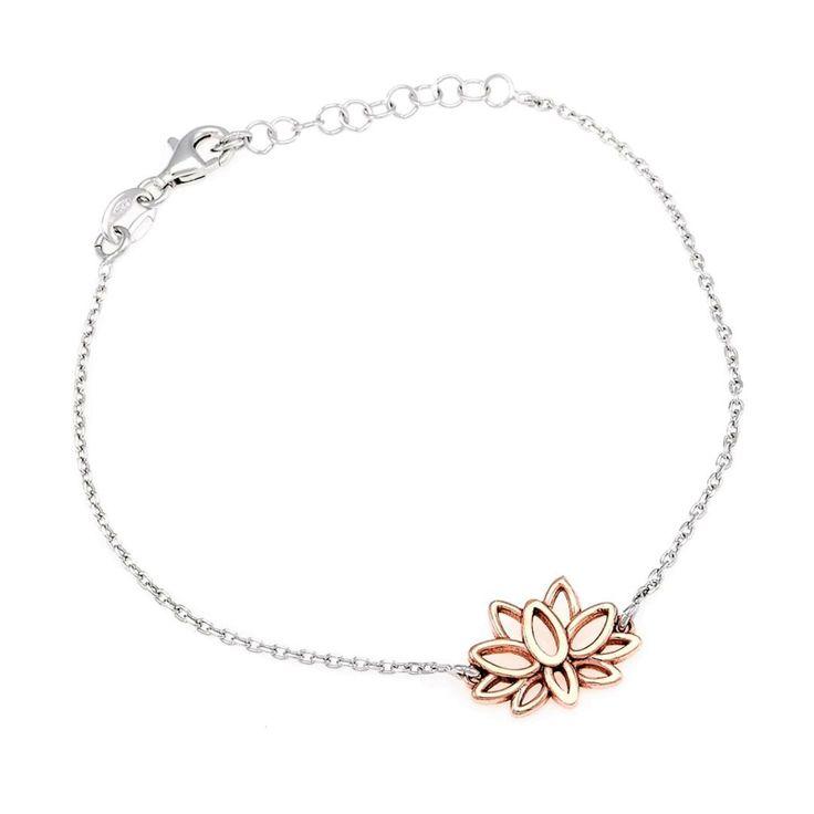 Zilveren Armband met Rosé Vergulde Lotus bloem