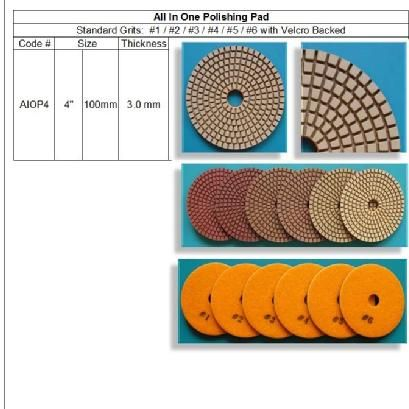 All In One Polishing Pad 6 Steps One for all; Granite, Marble, Engineered, Concrete, Terrazzo... http://www.gobizkorea.com/catalog/product_view.jsp?blogId=stonetools&pageNo=1&pageVol=50&listStyle=L&objId=1040108 Following is our online catalog supported by Korea government;  http://stonetools.gobizkorea.com sales@stonetools.co.kr  https://www.facebook.com/StonePolishingPads http://www.linkedin.com/company/stonetools-korea http://www.stonetools.co.kr https://www.pinterest.com/stonetoolskorea