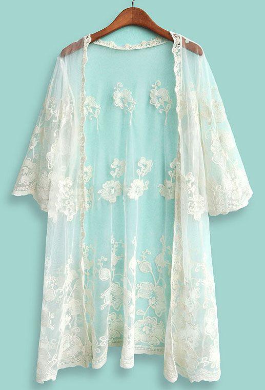 Beige Half Sleeve Embroidery Lace Cardigan - Sheinside.com $25