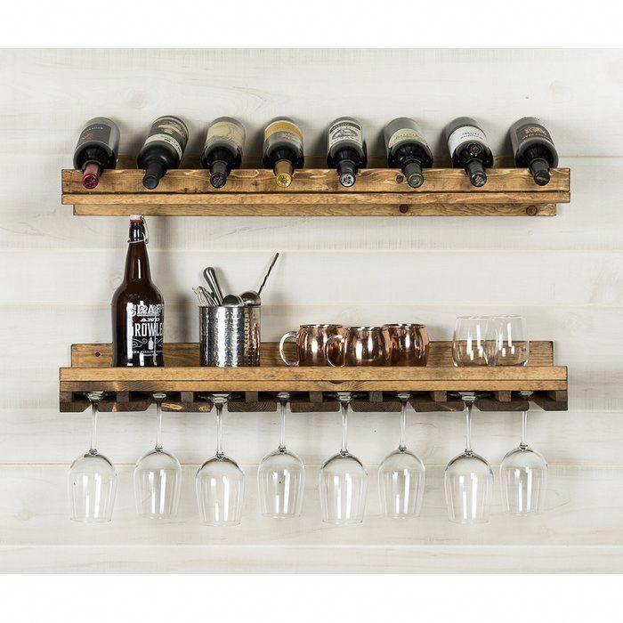Berlyn 8 Bottle Solid Wood Wall Mounted Wine Bottle Glass Rack