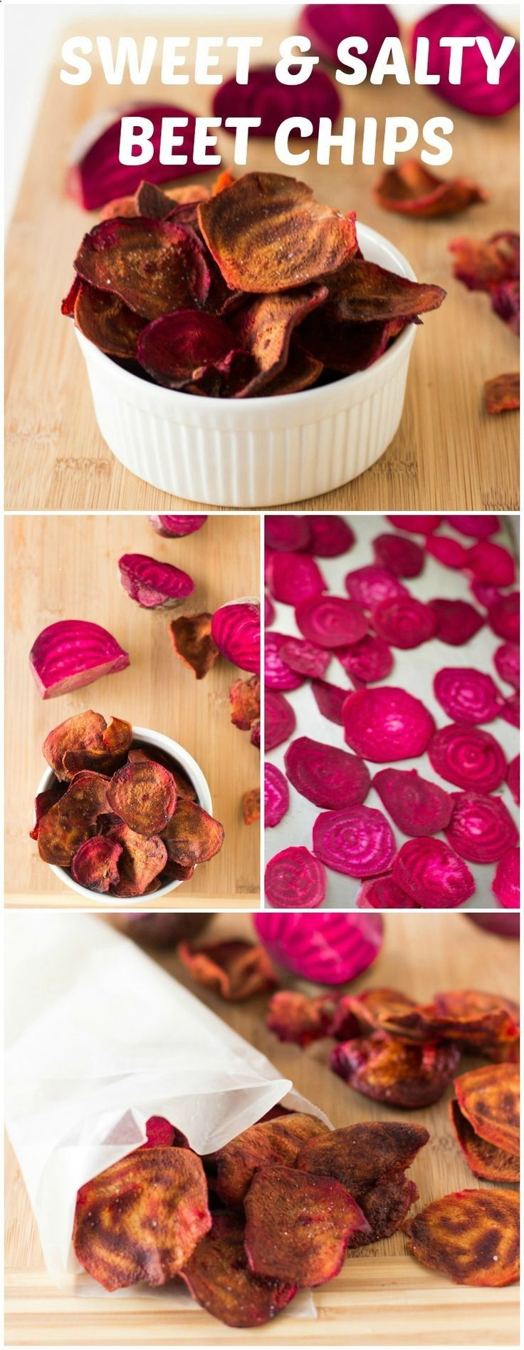 Beet Chips are a bright, colourful and and sweet and salty crunchy snack. #cleaneating