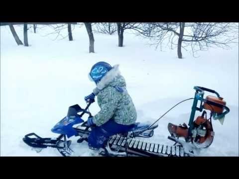 самодельный детский снегоход с мотором от бензопилы 2 Верхняя Хава - YouTube