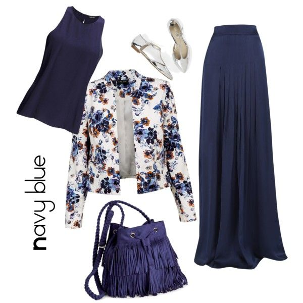 Navy blue by muslimco on Polyvore featuring polyvore, mode, style, 2nd Day, Matthew Williamson and H&M